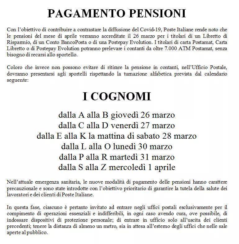 Coronavirus: pagamento pensioni scaglionato a partire dal 26 marzo